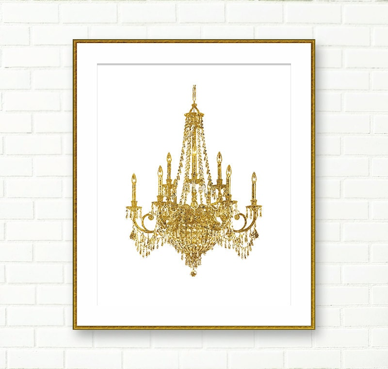 Chandelier Print Gold Instant Download