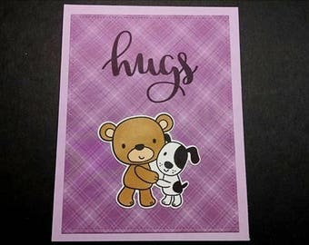 Hugs Note Card with Teddy Bear Hugging Puppy - Encouragement Card - Teddy Bear Card - Miss You Card - Blank Inside