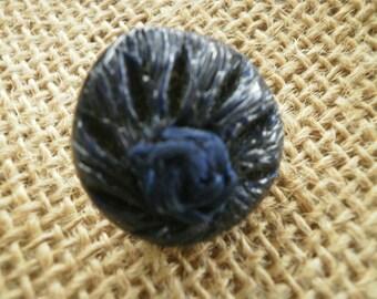 Set of 2 plastic, dark blue color, 23 mm diameter round jewel buttons