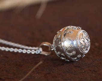 Harmony Ball - Angel Caller - Mexican Bola -  Bola Necklace - Chime Ball - Pregnancy Gift - Sterling Silver - Sphere Pendant only