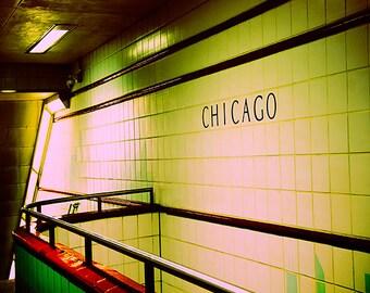 Chicago Photography / Subway art print / emerald green wall decor / Chicago CTA art / urban home decor / Office decor / retro decor / yellow