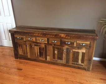 Reclaimed Oak Rustic Country 6 Drawer Buffet and Sideboard