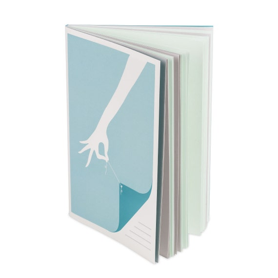 CURTAIN NOTEBOOK. Colored pages A5 notebook. Hand stitched. Aqua and light gray. For her. For young girl