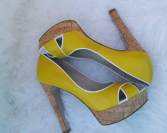 Yellow high heeled pumps/ open toe pumps/ yellow shoes/ cork heels/5 inches heels / shoes/ sandal/