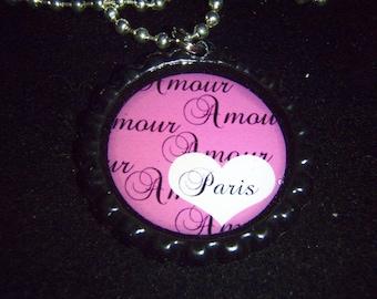 Paris Amour France BOTTLE Cap Necklace with chain