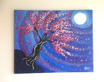 Leaning Tree Painting, Nature Art, Tree Painting, Pink Tree, Night Painting, Tree at Night, Wall Art, Abstract Art, Moon and Stars Painting