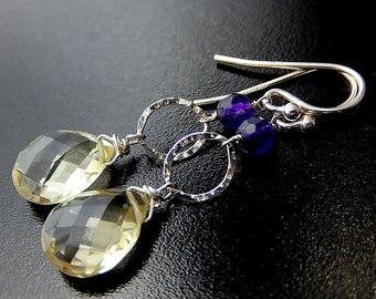Lemon Quartz Drop Earrings, Yellow Earrings, Teardrop Jewelry, Sterling Silver, Purple Jade Earrings