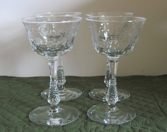 4 Vintage Libbey Rock Sharpe Crystal Tall Champagne Glasses Polished Floral Cut Pattern Stem 3007-7 Very Rare Find!!!