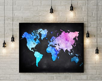Colorful world map etsy colorful watercolor world map poster gumiabroncs Image collections