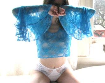 Sheer Lingerie - bell sleeve crop top - bell sleeve - see through lingerie - long sleeve lingerie - bell sleeves- womens- Recherche Clothing