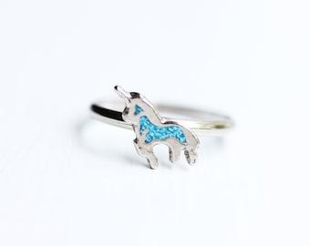 Unicorn Ring Blue, Silver Unicorn Ring, Small Unicorn Ring, Vintage Unicorn Ring, Adjustable Unicorn Ring, Silver Ring, Vintage Silver Ring