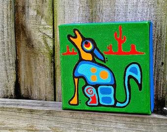 mini painting  4 x 4 canvas Dog