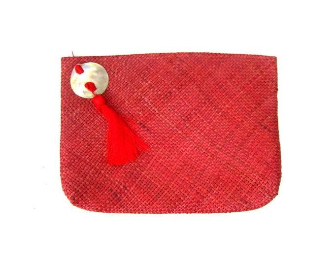 Red Woven Straw Purse Wicker Clutch Minimal Natural Beach Handbag Purse 80s Weave Purse Preppy Boho Hippie Summer Bag Envelope Clutch