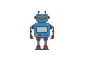 Blue Robot Cross Stitch Chart Pattern PDF