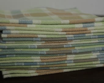 Cloth Table Napkins in Checkered Pastels of green, brown, blue and strips of white Set of 6 and 12