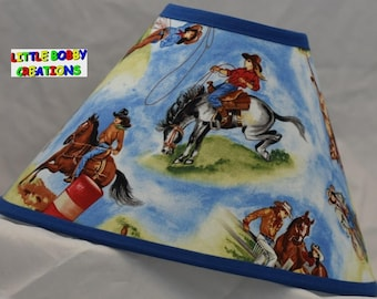 Western Cowgirls Rodeo Horse Riding Fabric Lamp Shade