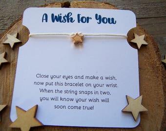 Rose Gold Star Wish Bracelet, Rose Gold Wish Bracelet, Star Friendship Bracelet, Star Jewelry, Star Gift, Star Charm Bracelet, Cord Bracelet