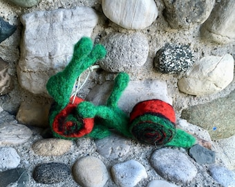 Green and Red Snail, Needle Felted Wool