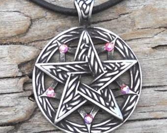 Pewter Double Pentagram Celtic Pagan Pentacle Pendant with Swarovski Crystal Aurora Borealis APRIL Birthstone (56I)
