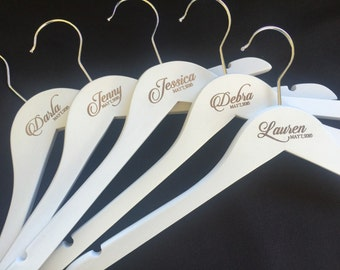 Classical ETCHED name and date coat hangers for the perfect wedding bridal party gift. Includes any name and date etched in the centre.