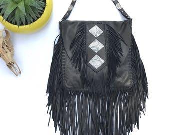 Diamondback Black Fringe Concho Bag
