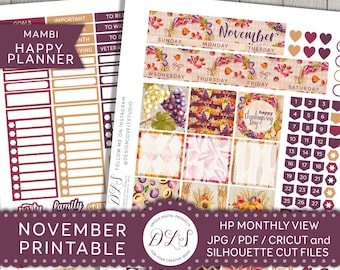 NOVEMBER Mambi Printable Monthly Kit Happy Planner Thanksgiving Stickers Autumn Fall Planner Give Thanks Silhouette Cricut HPMV107