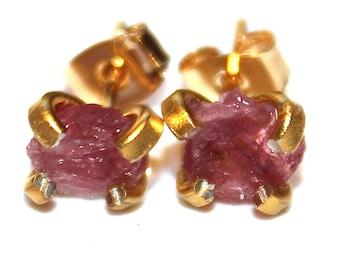 Raw Pink Tourmaline Stud Earrings Organic Earrings Pink Tourmaline Jewelry Free Form Earrings Tourmaline Prong Set Earrings Raw Gemstones