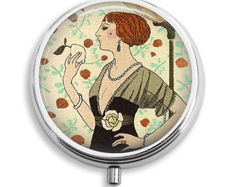 Pill Box Pill Case Red Headed Art Deco Lady When Life Gives You Lemons Pill Holder Pill Container Trinket Box Vitamin Holder Medicine Box