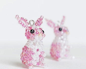 Easter Bunny Earrings, Rabbit Earrings, Beaded Rabbit Dangle Earrings, Beaded Animal Earrings, Easter Jewelry, Pink bunny, Rabbit