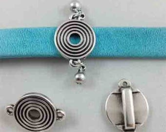 Interleave spiral leather 5mm with hanging charm
