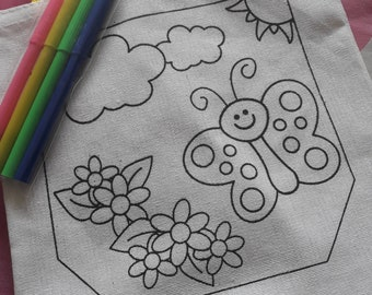 Colour-in linen bag.colour in/craft/gift