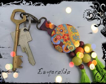 SOLD - Key chain / bag ESMERALDA - Purple Leather - tassels and predominantly orange, yellow and purple fabric - beads