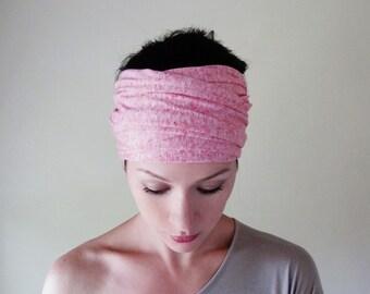 BUBBLEGUM Headband, Pink Headband, Extra Wide Head Scarf, Heather Pink Jersey Head Scarf, Yoga Headband, Hair Accessory for Women