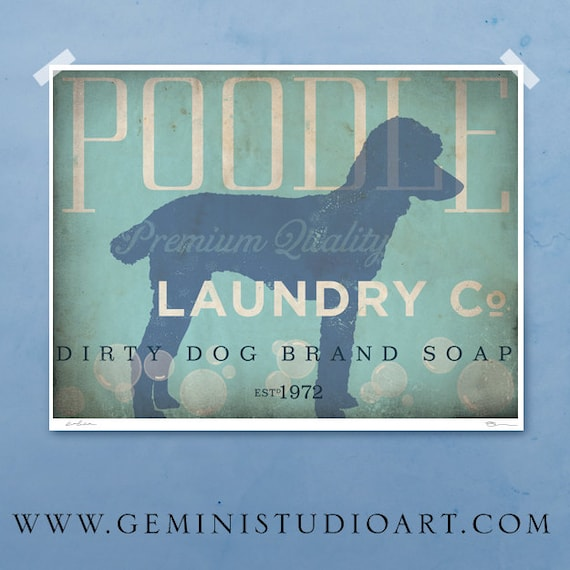 Standard Poodle laundry company laundry room artwork giclee