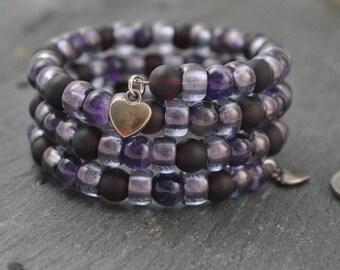 Amethyst & Czech Glass Three Strand Memory Wire Bracelet