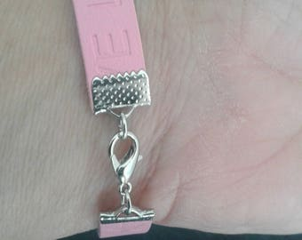 Leather Bracelet rose clasp to put around the wrist or ankle