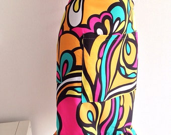 Vintage 60s 70s psychedelic colors, multicolor apron Housewife half apron with pocket
