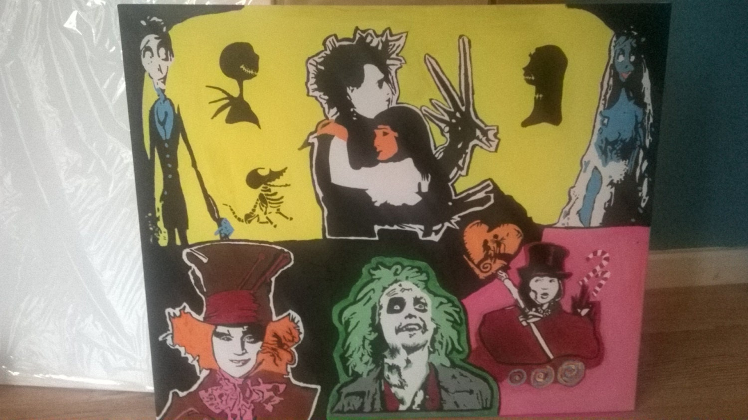 Tim burton handpainted to order beetlejuice corpse bride alice in ...