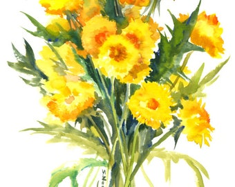 Dandelions, Original watercolor painting, wild flowers, herbs, herbal art, yellow flowers, floral, cottage design, country style