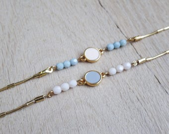 Sweet winter blue, pink, white, gold pendant enamelled and gilded with 24kt Beads Bracelet glass