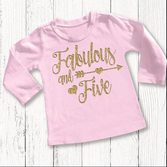 Five Year Old Birthday Shirt Fifth Birthday Girls Shirt 5