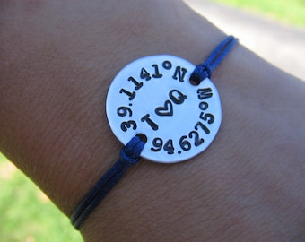 Coordinates Bracelet, Couples Bracelet, Custom Coordinates, Gift for Him, Gift for Her, Latitude Longitude, Boyfriend Gift, Girlfriend Gift