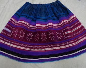 Vietnam Hmong Cotton Embroidered Hemp Skirt - Blue and purple