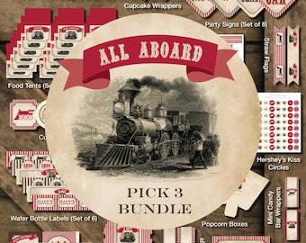 Train Printable Party, Train Birthday Party Printables, Train Birthday Decorations, Vintage Train Printable, Train Party Package