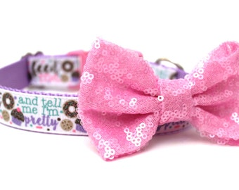 Dog Collar Bow Add-On Pink Sparkle Bow for Dogs