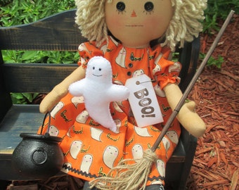 Prim Blonde Hilda-Boo Raggedy Witch with her ghost and her broom