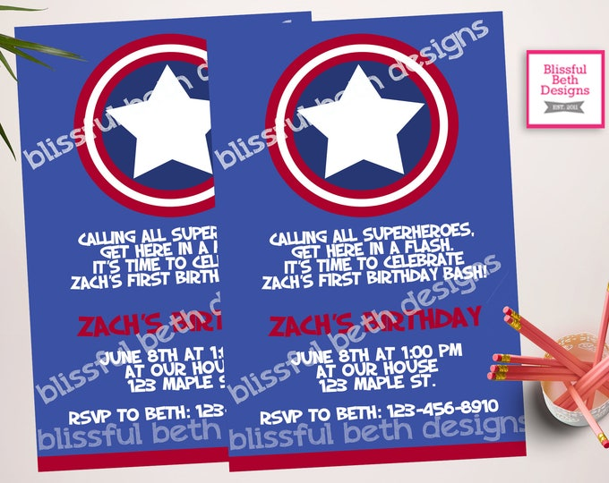 CAPTAIN AMERICA INVITATION, Personalized Captain America Printable Birthday Invitation, Captain America, Captain America Birthday