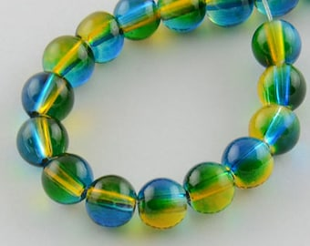 31 Inch Strand Of  Glass Spray Painted 6mm glass beads(over 130 beads)-10165t