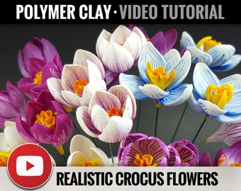 Polymer Clay Tutorial Vol.14: DIY How to make «Realistic Crocus Flower» Detailed Flower Tutorial, Clay Flowers, Instant Access
