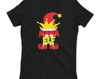 Mama Elf Women's T-shirt // Christmas T Shirt // Ladies Holiday Shirt // Santa's Elves Tee // Gift For Mom // Matching Elf Costume
